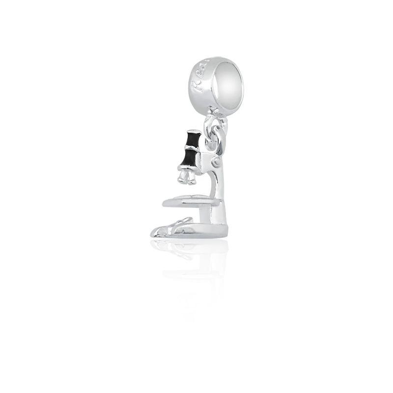 Berloque Pingente Microscópio em Prata 925 esmaltada