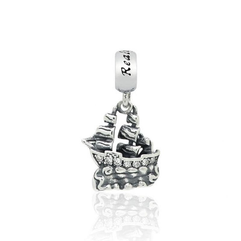 Berloque Pingente Navio Pirata Cravejado em Prata 925