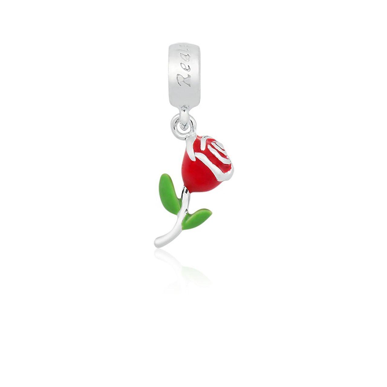 Berloque Pingente Rosa em Prata 925 esmalta
