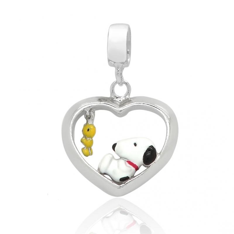 Berloque Pingente Snoopy e Woodstock Coração em Prata 925 esmaltada
