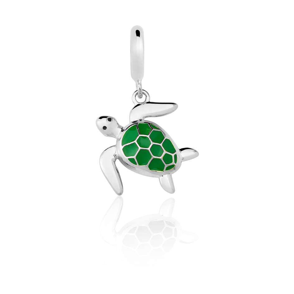 Berloque Pingente Tartaruga Verde em Prata 925 esmaltada