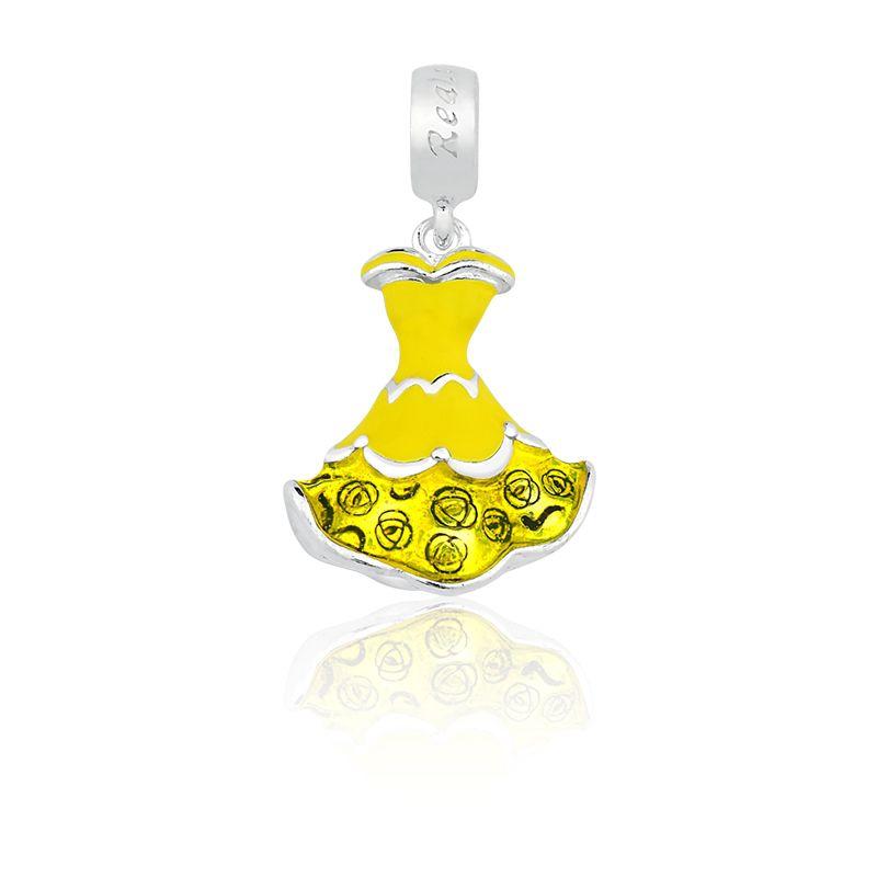 Berloque Pingente Vestido Amarelo Princesas em Prata 925 esmaltada