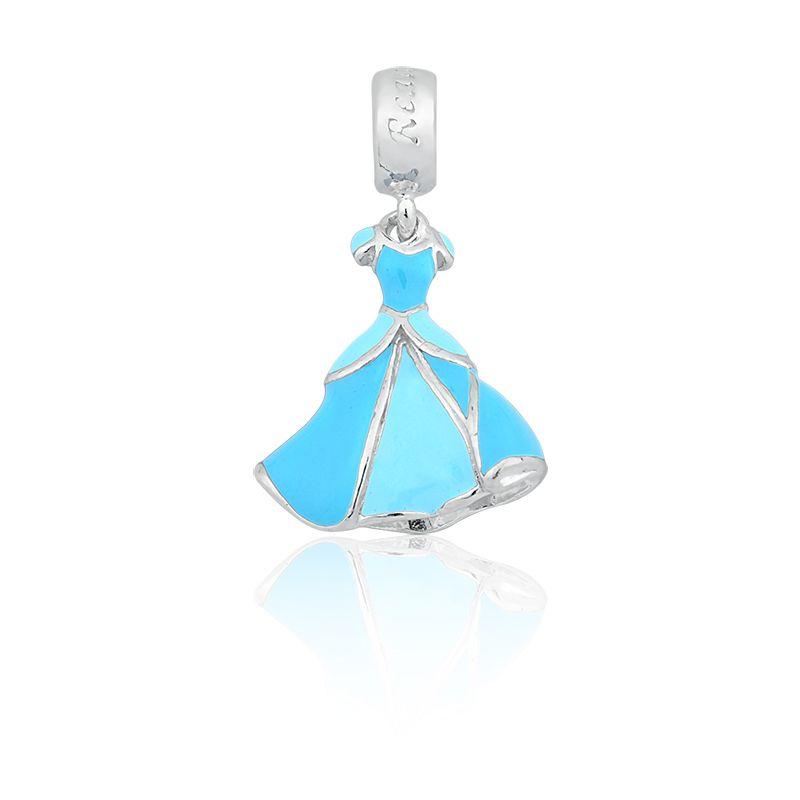 Berloque Pingente Vestido Azul Princesas em Prata 925 esmaltada