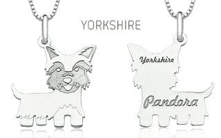 Berloque Pingente Yorkshire Gravado em Prata 925