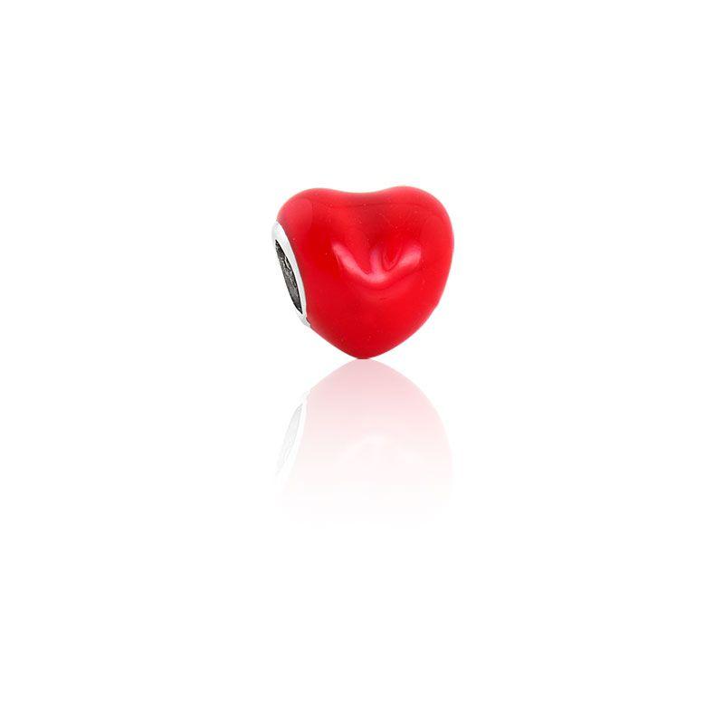Berloque Separador Coração em Prata 925 esmaltada