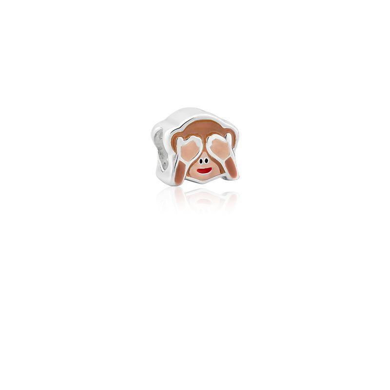 Berloque Separador Emoji Macaco Não Fala em Prata 925 esmaltada
