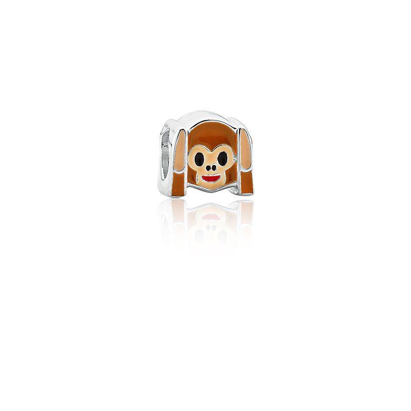 Berloque Separador Emoji Macaco Não Ouve em Prata 925 esmaltada