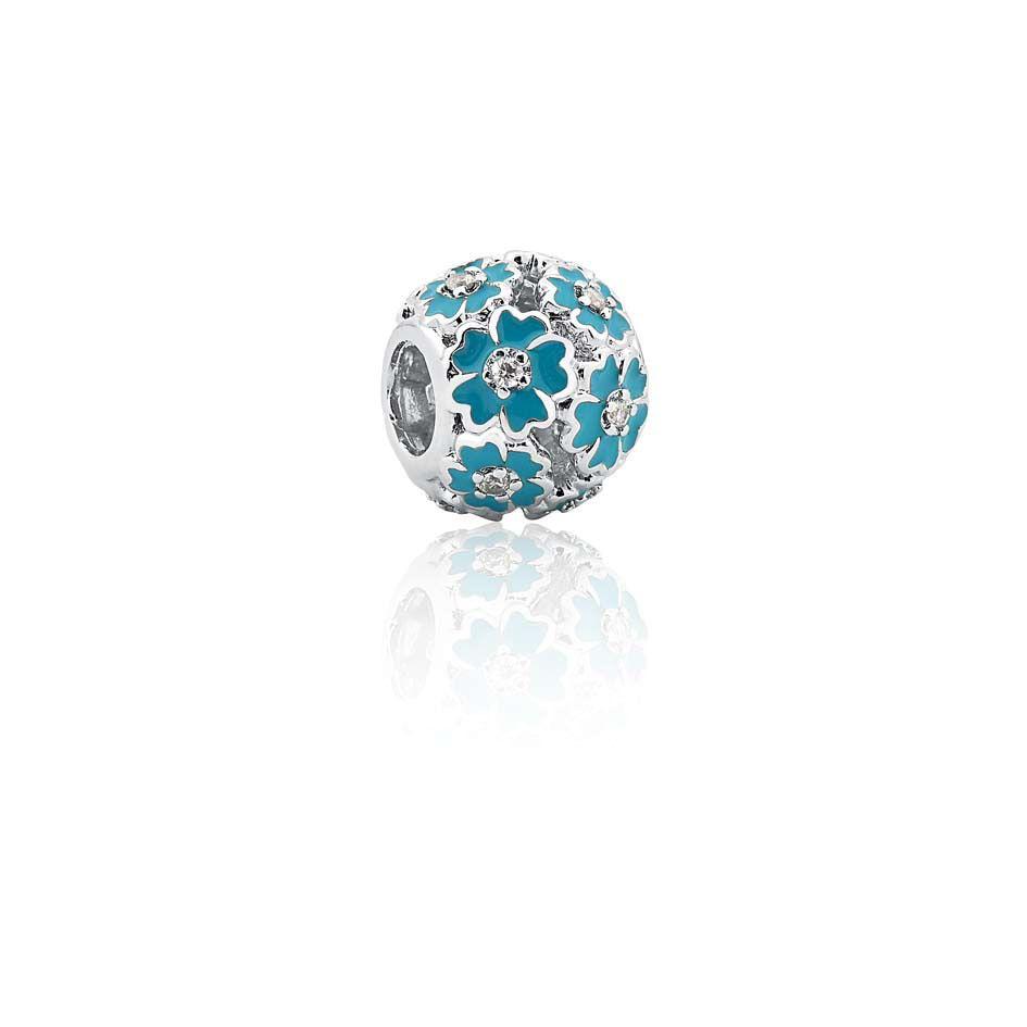 Berloque Separador Flores Azuis e Prata 925 esmaltada