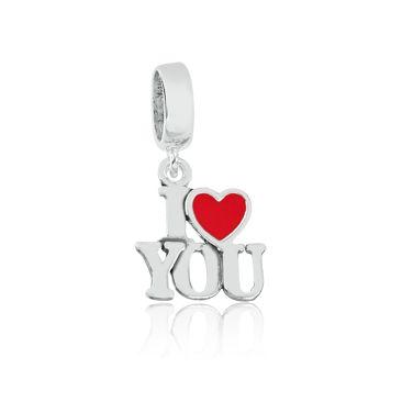 Berloque Separador I Love You em Prata 925 esmaltada