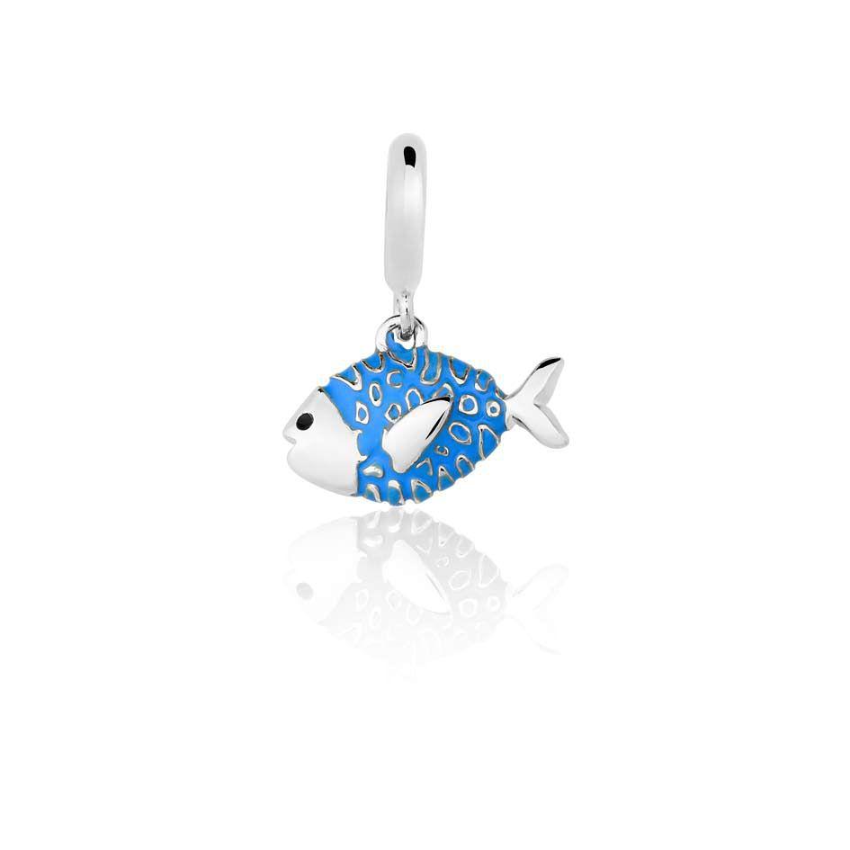 Berloque Separador Peixinho Azul em Prata 925 esmaltada