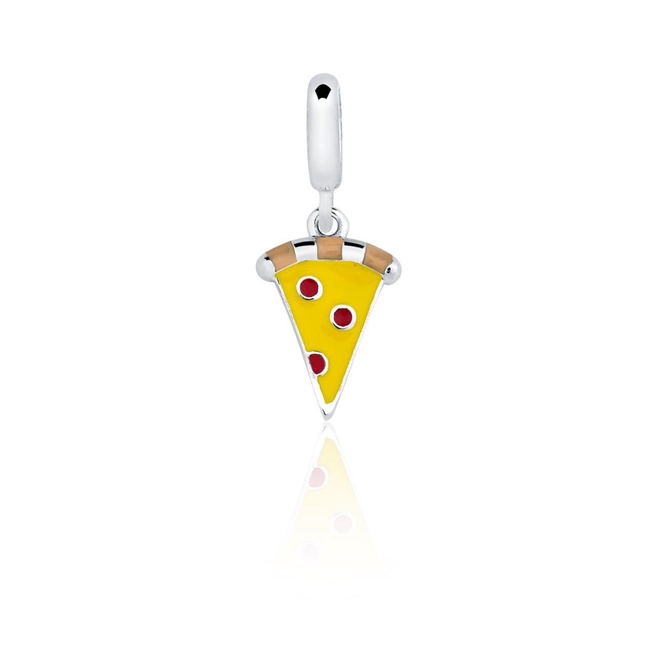 Berloque Separador Pizza em Prata 925 esmaltada