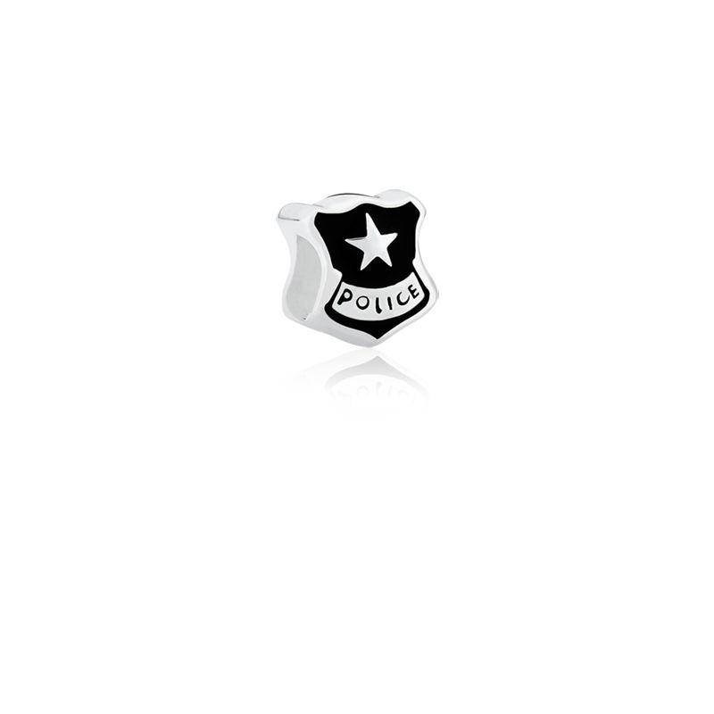 Berloque Separador Polícia em Prata 925 esmaltada