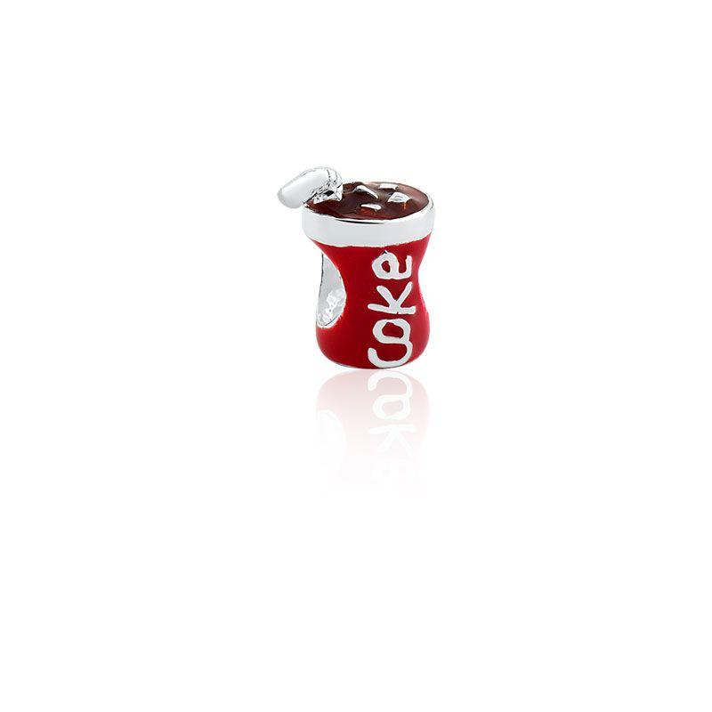 Berloque Separador Refrigerante Cola em Prata 925 esmaltada