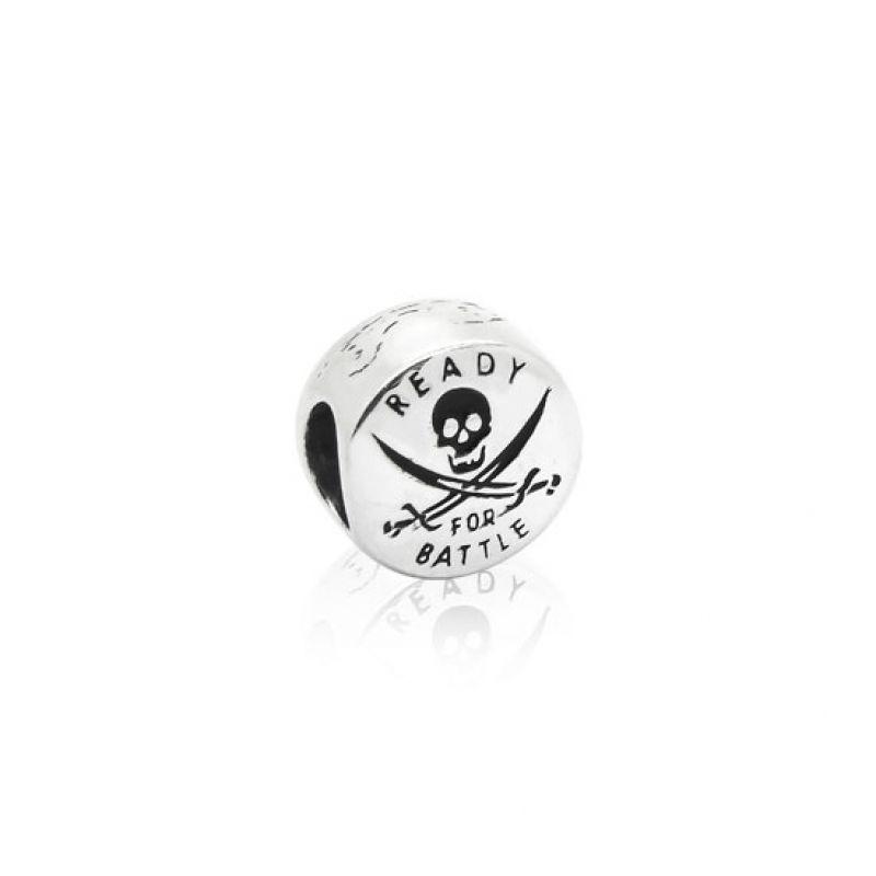 Berloque Separador Símbolo Pirata em Prata 925 esmaltada