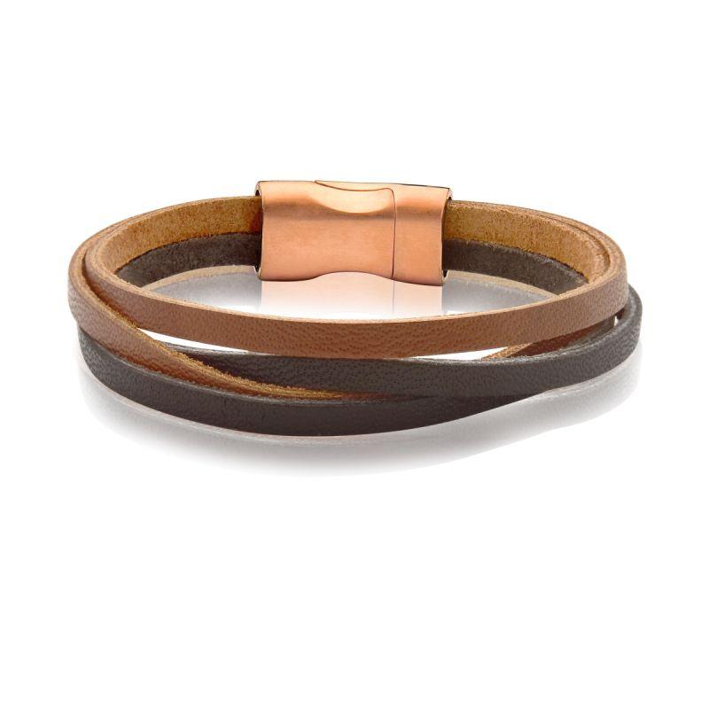 Bracelete 20cm Couro Liso Quadruplo Marrom escuro/caramelo Fecho Steel