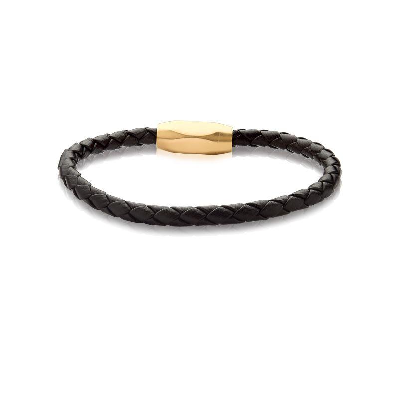 Bracelete Aço 20cm Couro Trançado Preto com Fecho Oval Gold Liso