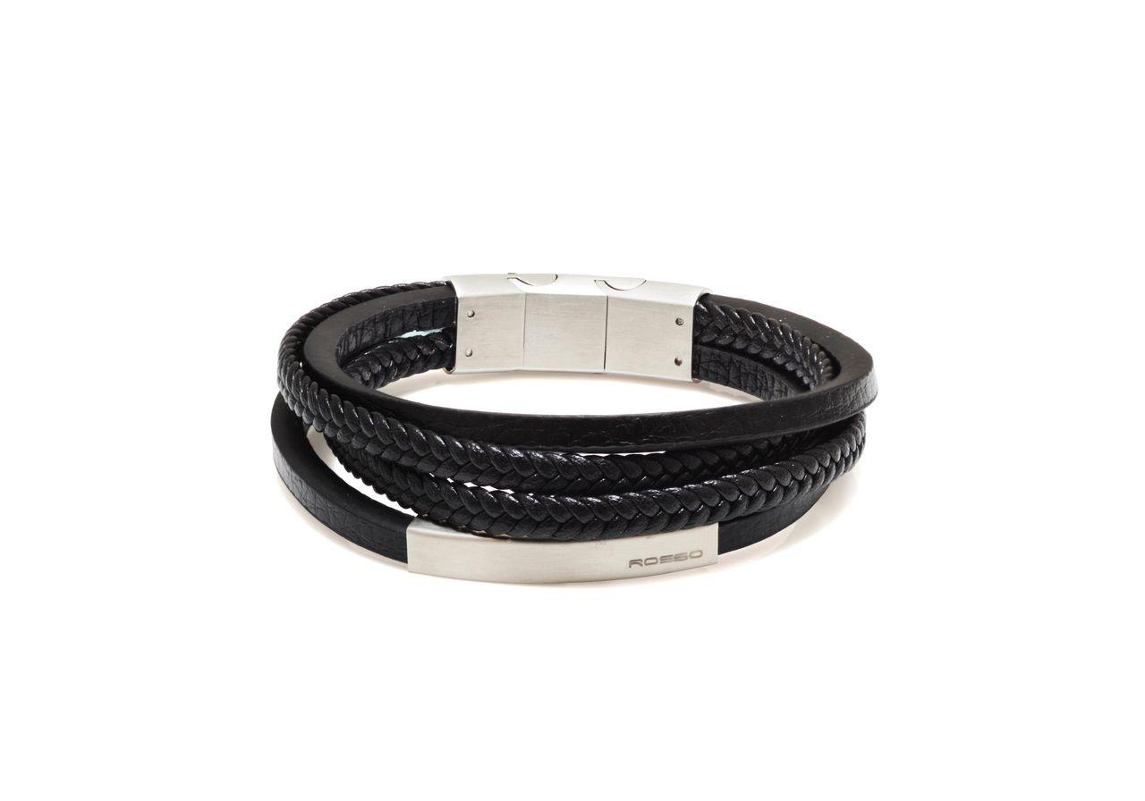 Bracelete Couro Preto com Placa Ima
