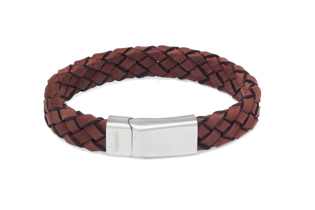 Bracelete Rosso Couro Trancado Cinza Fecho Ima