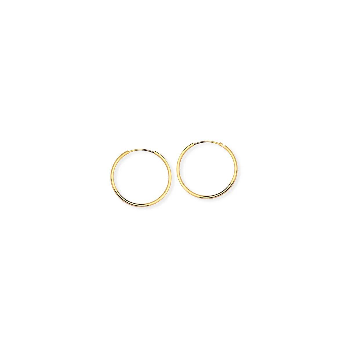 Brinco Argola Fio Fino Redondo M em Prata 925 banho de ouro