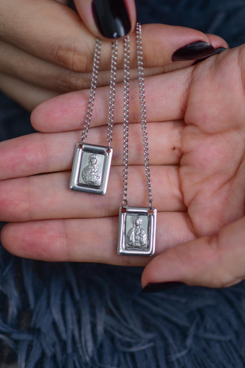 Escapulário S. C. Jesus e N.S. Carmo em Prata 925  60cm
