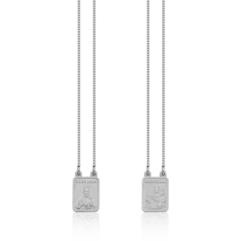 Escapulário N. Sra. Carmo e S. C. Jesus em Prata 925 70cm