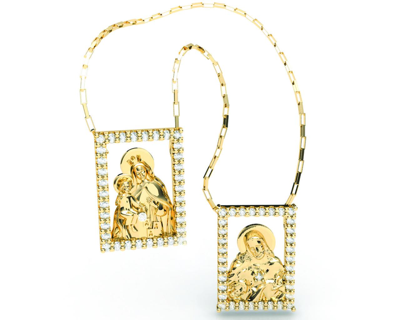 Escapulário Santo Coração de Jesus e Nossa Senhora do Carmo
