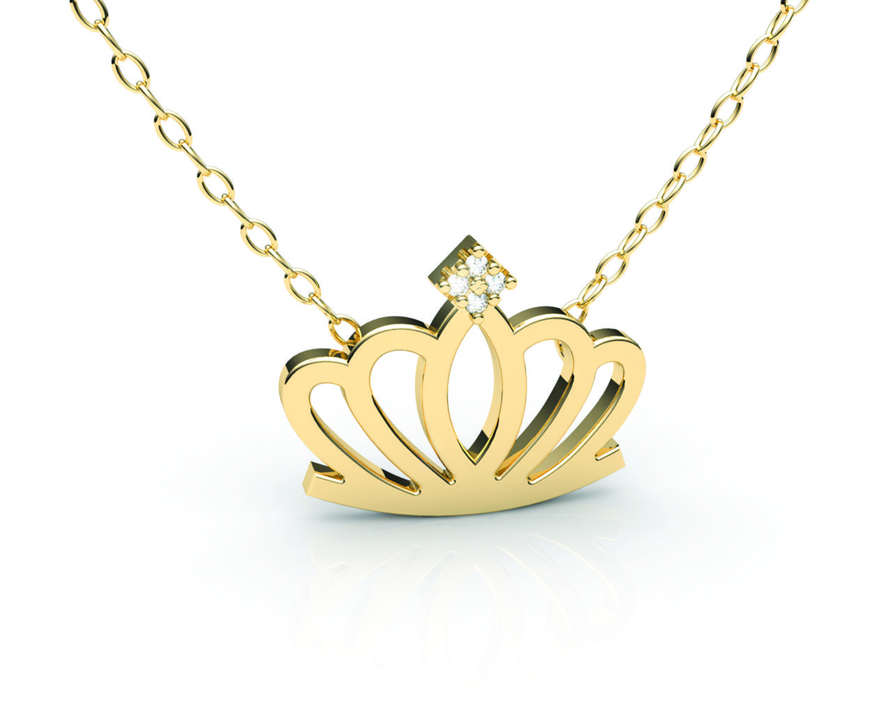 Gargantilha Coroa com 4 pedras Ouro Amarelo