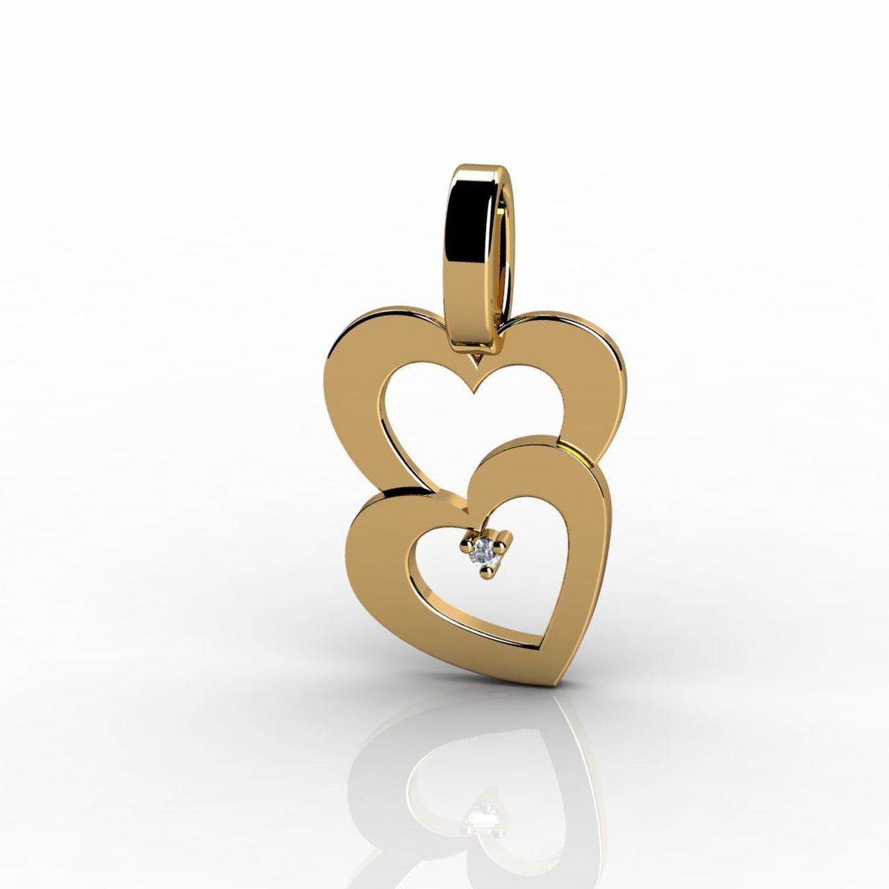Pingente 2 Corações Abertos Ouro Amarelo