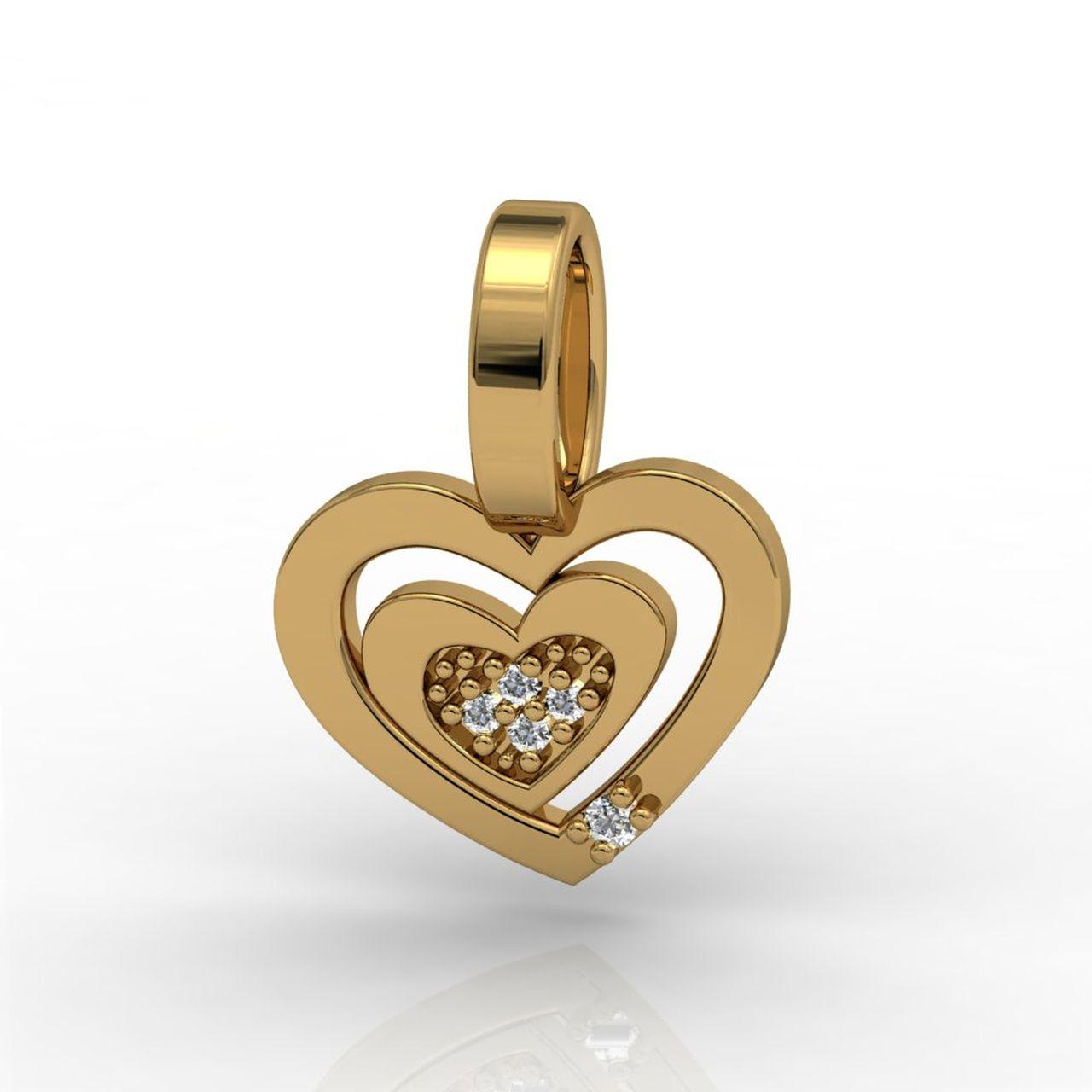 Pingente 2 Corações Ouro Amarelo com Diamantes