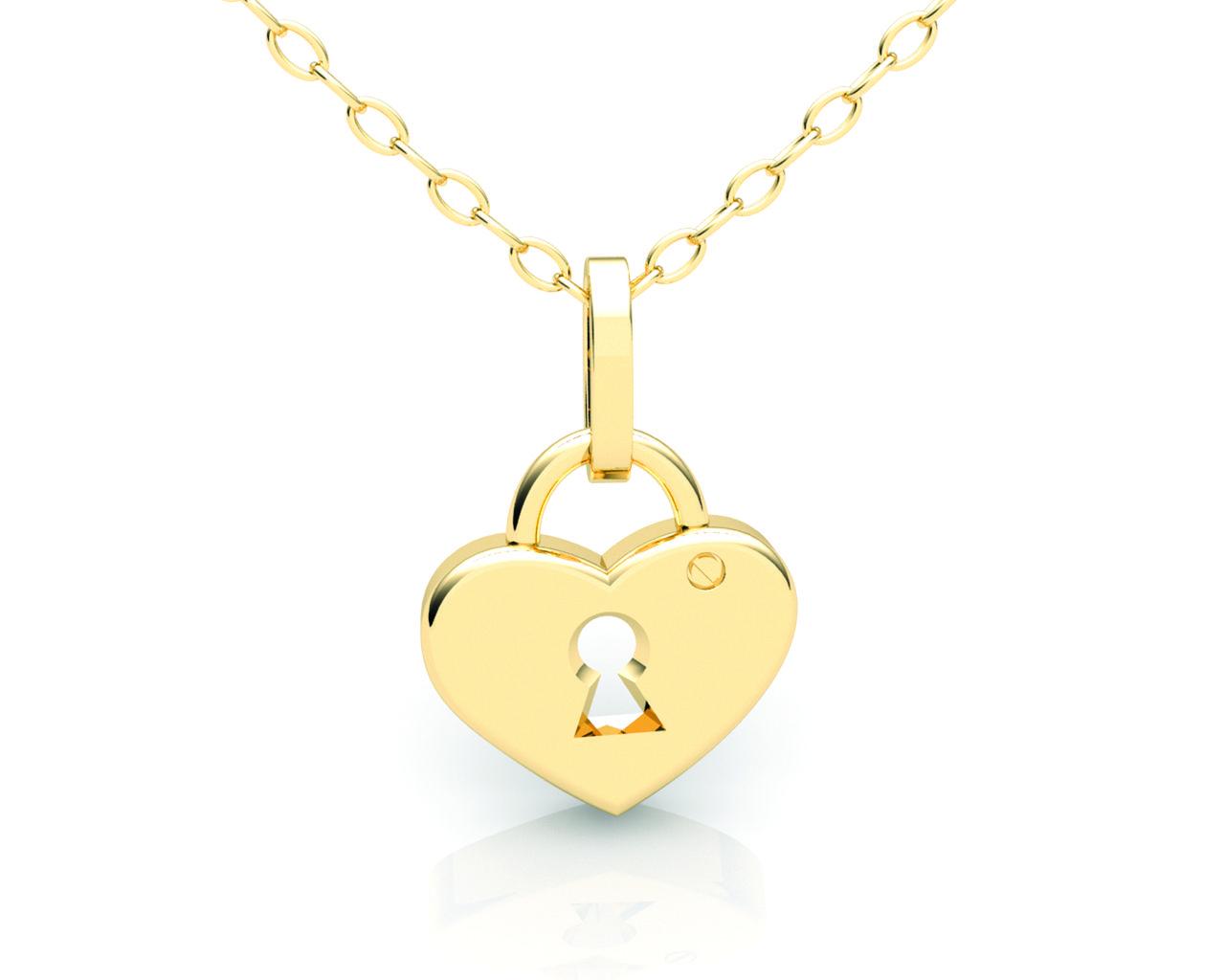 Pingente Coração Cadeado Ouro Branco