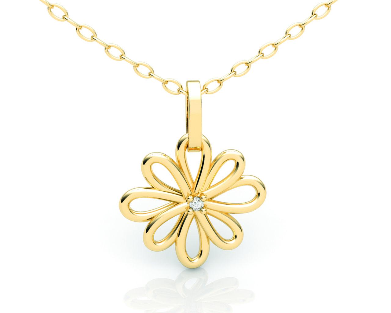 Pingente Flor Ouro Amarelo