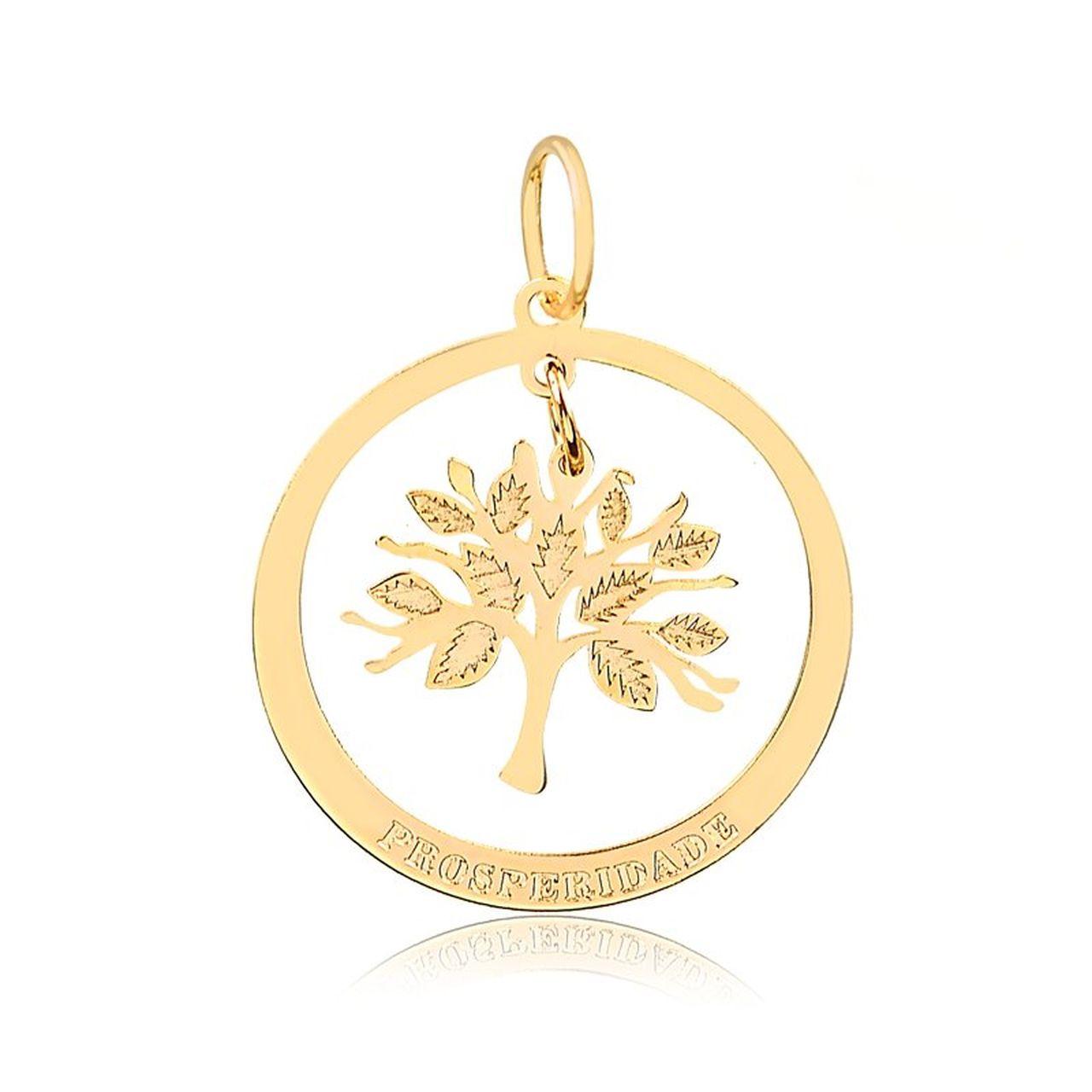 Pingente Medalha Árvore da Vida em Ouro 18K
