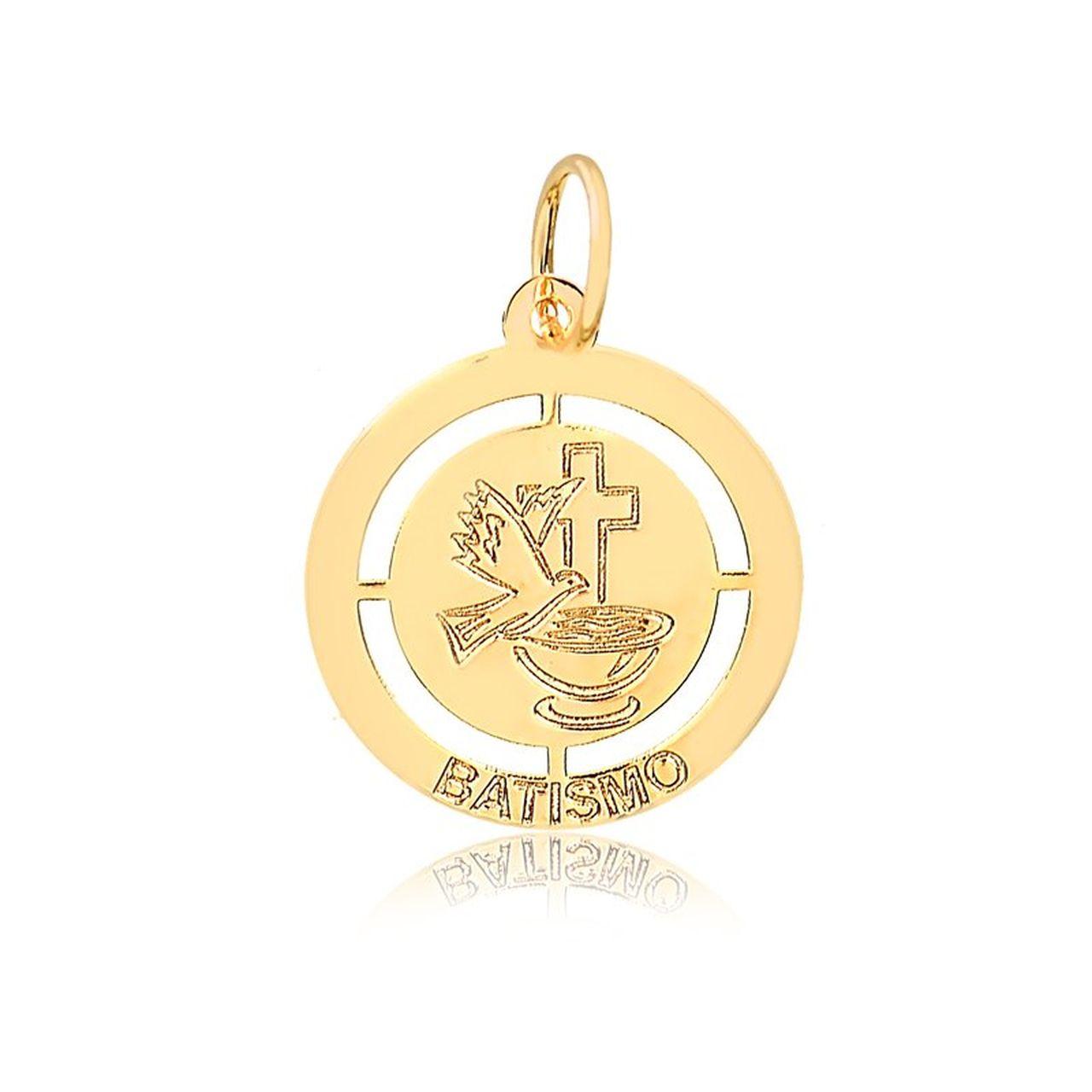 Pingente Medalha Batismo em Ouro 18K