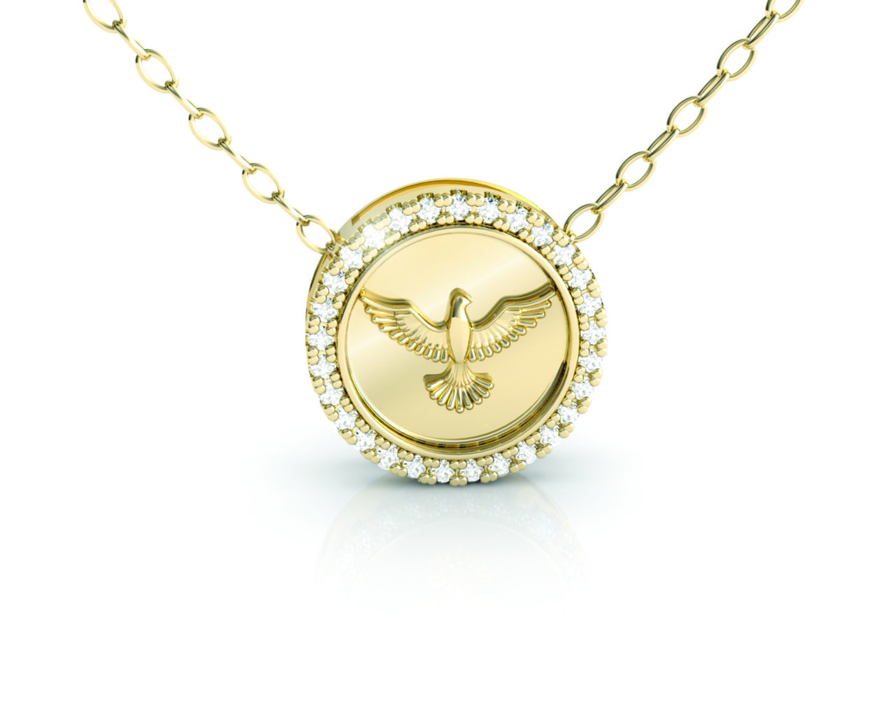 Pingente Medalha Espirito Santo Ouro Amarelo