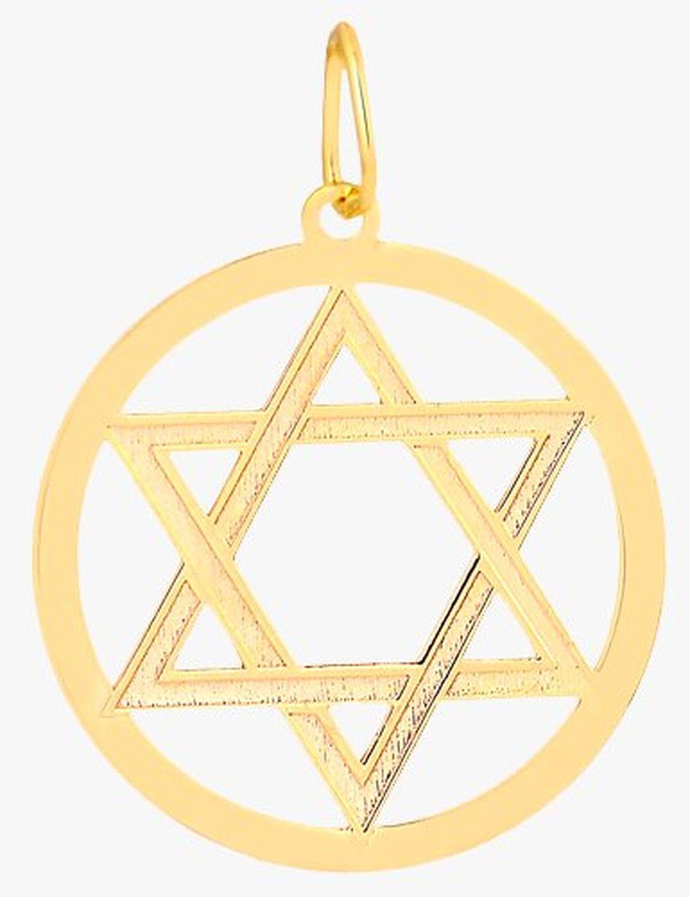 Pingente Medalha Estrela de Davi em Ouro 18K