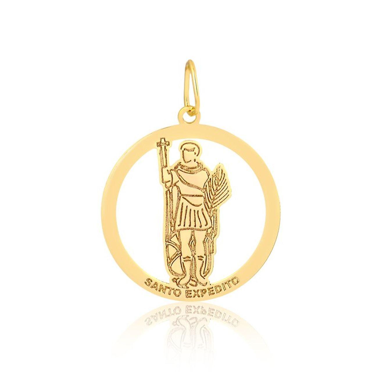 Pingente Medalha Santo Expedito em Ouro 18K