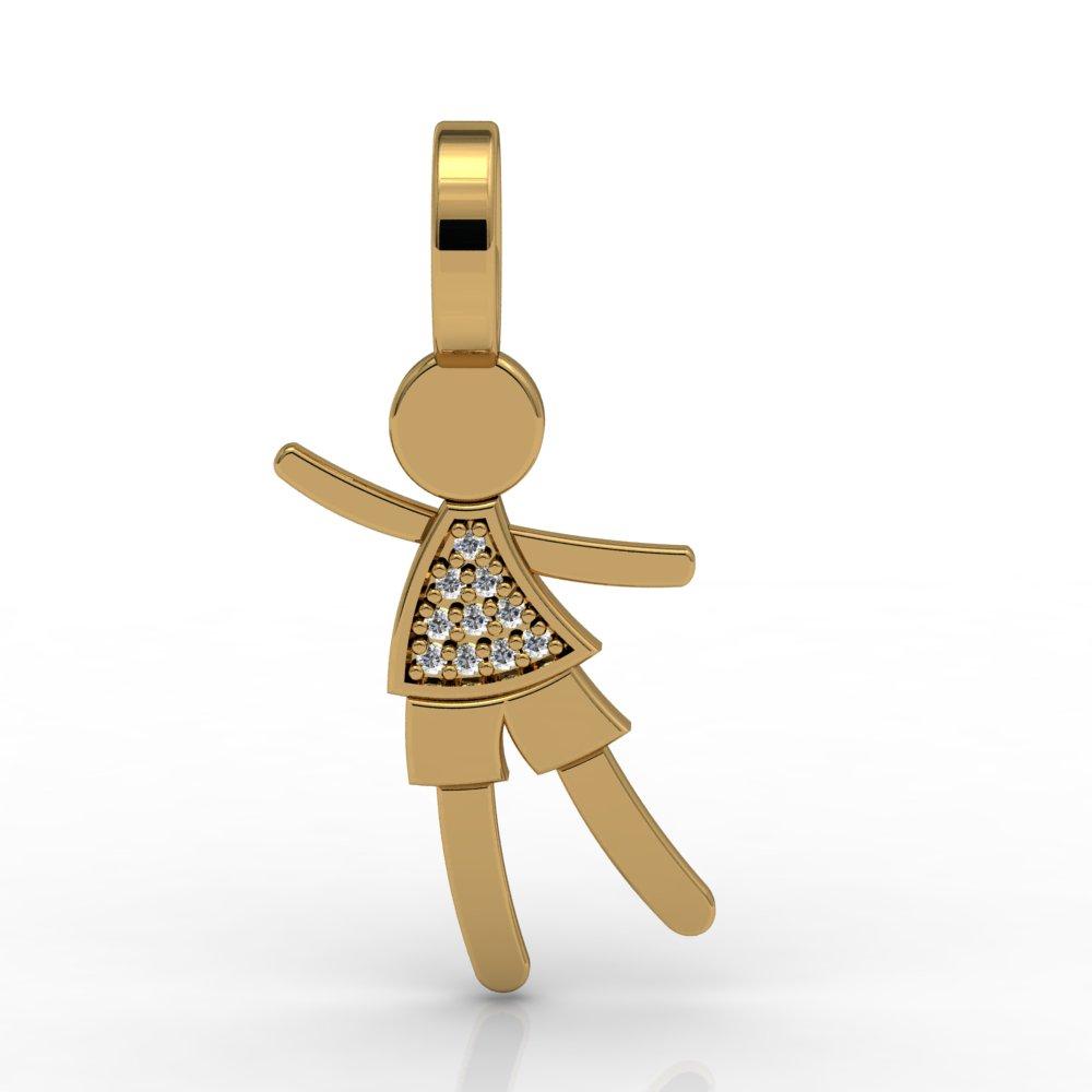 Pingente Menino Dançante Ouro Amarelo 18k 10 Diamantes