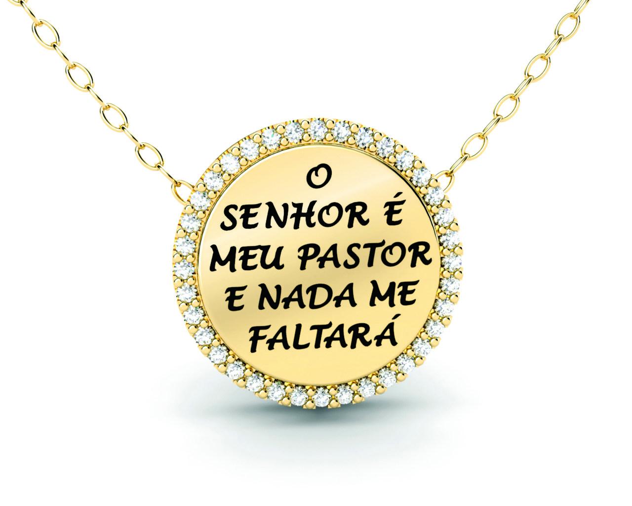 """Pingente ''Senhor é meu Pastor e nada me faltará"""" Ouro Amarelo"""