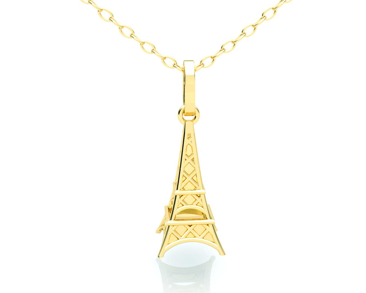 Pingente Torre Eiffel Ouro Amarelo