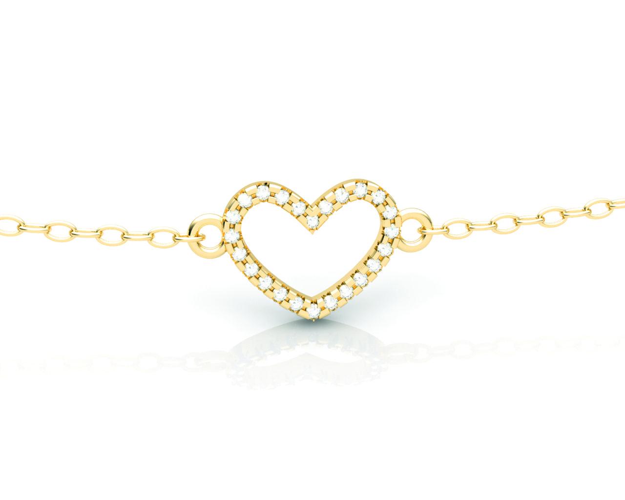 Pulseira Coração Ouro Amarelo