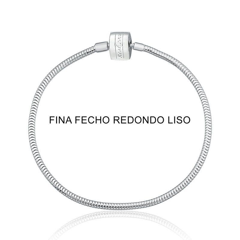 Pulseira Infantil Fina para Berloque Fecho Redondo 13 cm em Prata 925