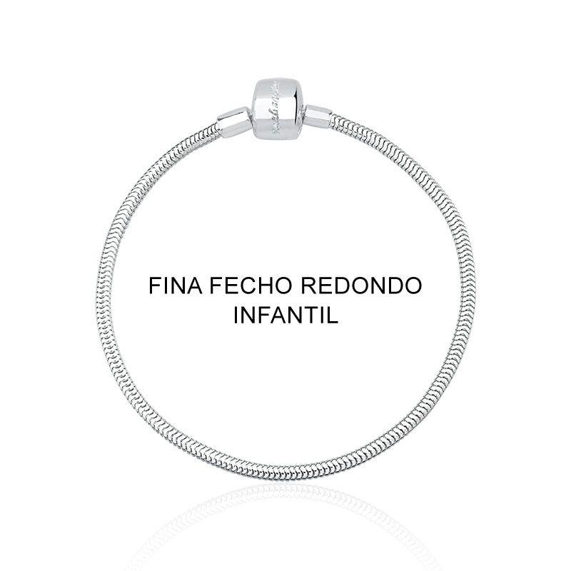 Pulseira Infantil Fina para Berloque Fecho Redondo 15 cm em Prata 925