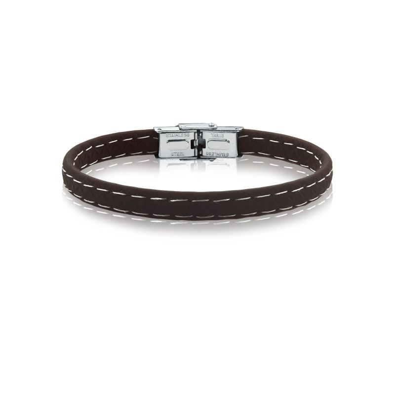 pulseira rosso borracha marrom 7mm costura branca fecho steel