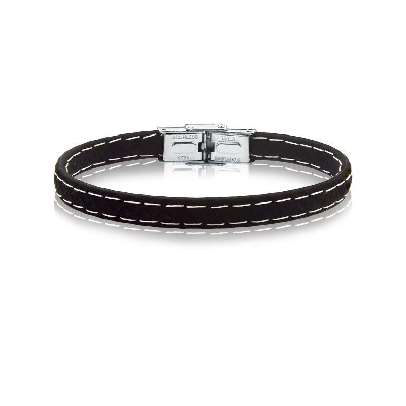 pulseira rosso borracha preto 7mm costura branca fecho steel