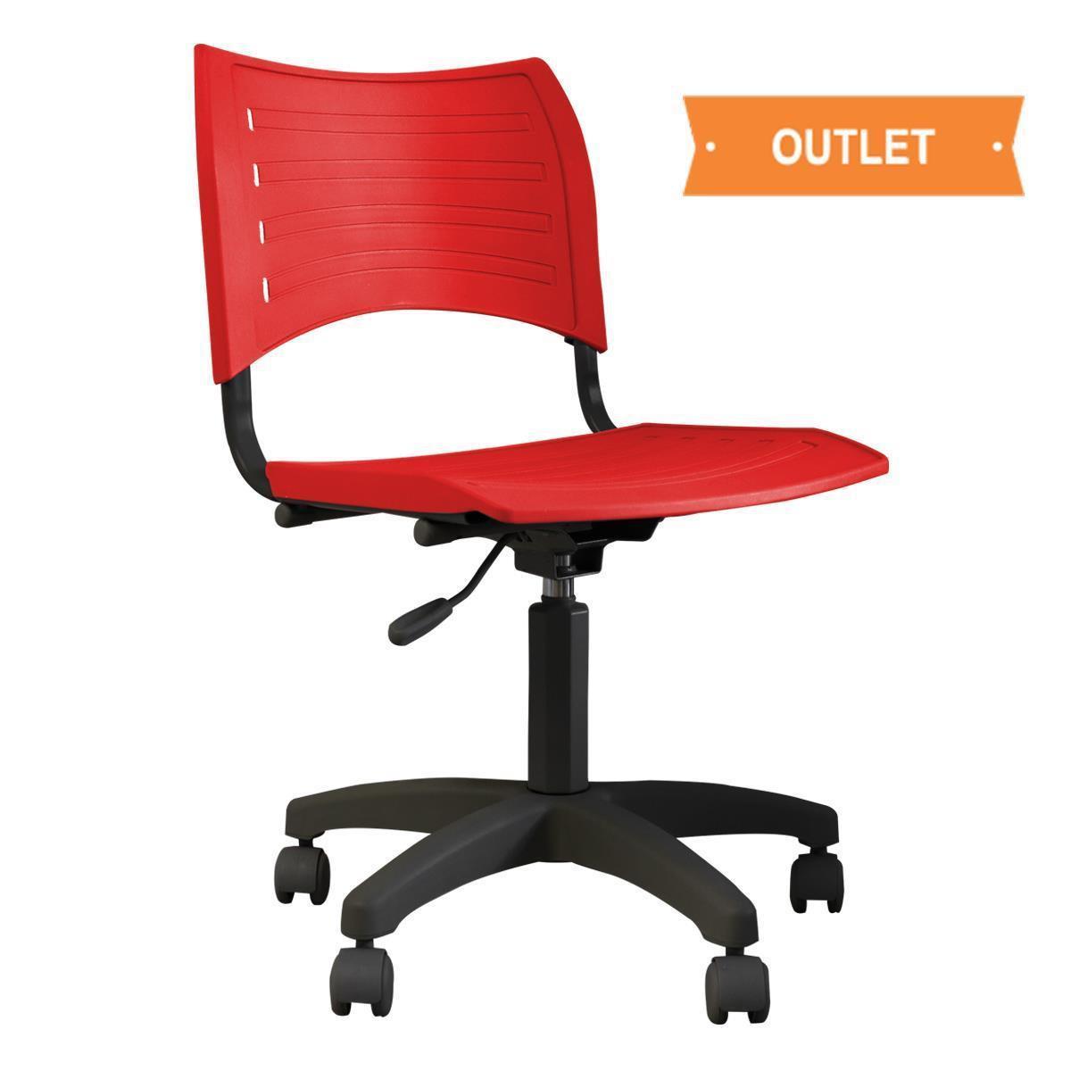CADEIRA GIRATÓRIA TEK - Base preta, assento/encosto vermelho
