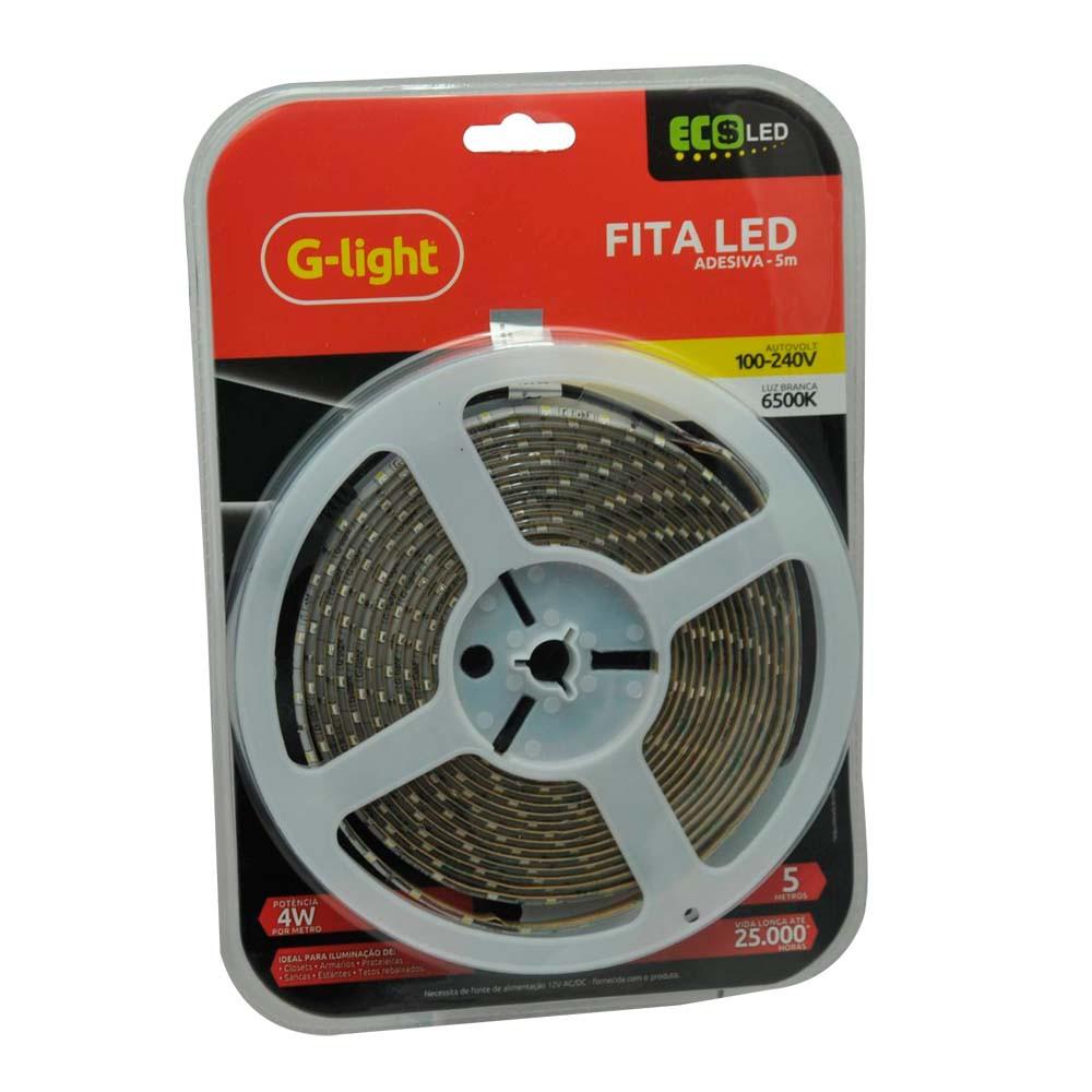 Fita Led Kit Ip20 5m G-Light C/ Fonte ***Branca
