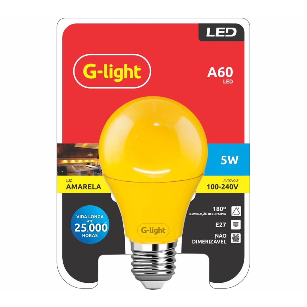 Lamp.Led A60 G-Light E-27 5w Color Biv. ***Amarela