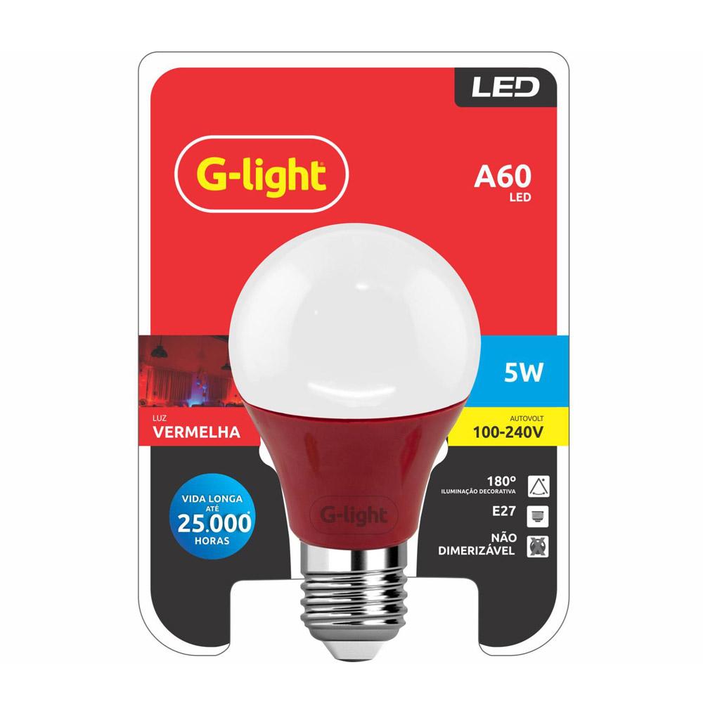 Lamp.Led A60 G-Light E-27 5w Color Biv. ***Vermelha
