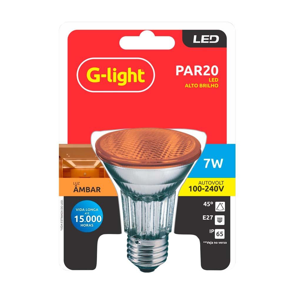 Lamp.Led Par 20 G-Light 7w Color Ip65 Bivolt ***Ambar