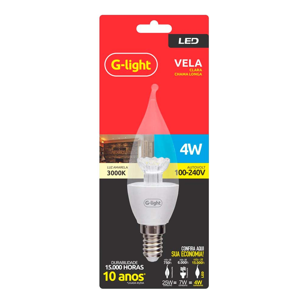 Lamp.Led Vela G-Light 4w Clara Bivolt ***Branca